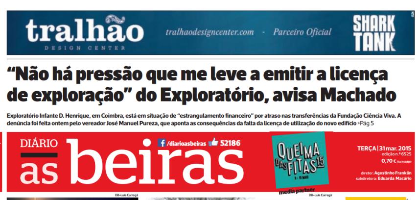 Diário As Beiras, 31 de Março de 2015 Pág. 1