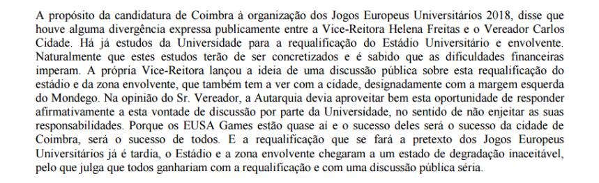 Intervenção de José Augusto Ferreira da Silva no perído antes da ordem do dia na Reunião da CMC de 3 de Março de 2015.