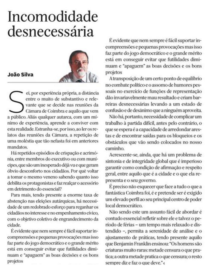 (Artigo publicado na edição de 16 de julho de 2015, do Diário de Coimbra)